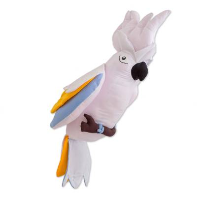 Guatemalan Handmade White Cockatoo Hanging Decorative Doll