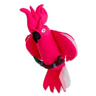 Guatemalan Handmade Pink Cockatoo Hanging Decorative Doll