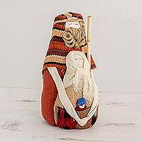 Cotton nativity scene, 'Blessed Love' - Guatemalan Handmade Cotton Nativity Scene with Jute Accents