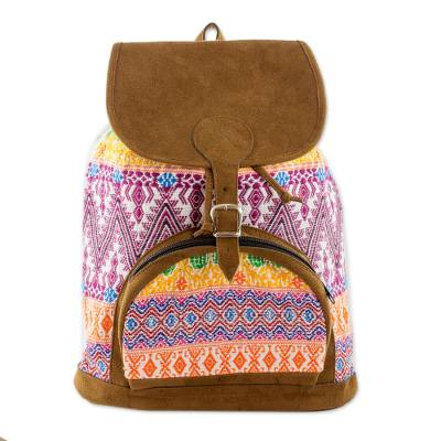 Guatemalan Handcrafted Cotton and Faux Suede Trim Backpack