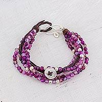Fine silver and amethyst beaded bracelet, 'Tranquil Country' - Fine Silver and Amethyst Beaded Bracelet from Guatemala