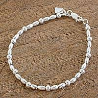 Sterling silver beaded bracelet, 'Gleaming Combination' - High-Polish Sterling Silver Beaded Bracelet from Guatemala