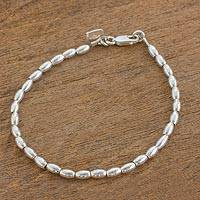 Sterling silver beaded bracelet, 'Peaceful Gleam' - Elegant Sterling Silver Beaded Bracelet from Guatemala