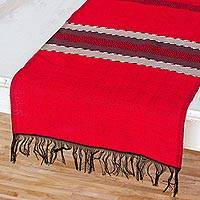Cotton table runner, 'Trails of Totonicapan in Red' - Black and Red Table Runner Hand Loomed in Cotton