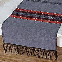 Cotton table runner, 'Trails of Totonicapan in Grey' - Fringed All Cotton Table Runner in Grey and Black