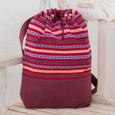Cotton backpack, 'Expedition in Bordeaux' - Striped Cotton Backpack in Bordeaux from Guatemala