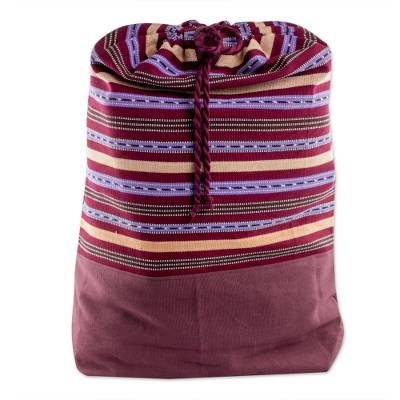 Striped Cotton Backpack in Bordeaux from Guatemala