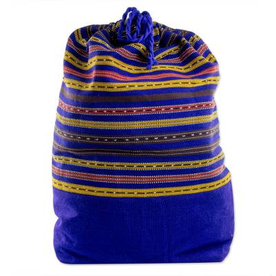 Striped Cotton Backpack in Sapphire from Guatemala