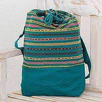 Cotton backpack, 'Expedition in Emerald' - Striped Cotton Backpack in Emerald from Guatemala