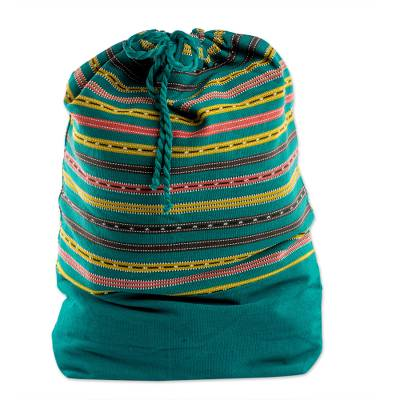 Striped Cotton Backpack in Emerald from Guatemala