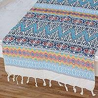 Cotton table runner, 'Tradition in Sky Blue' - Hand Woven Multicolored Table Runner from Guatemala