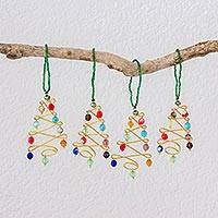 Glass ornaments, 'Vibrant Christmas' (set of 4) - Four Glass Beaded Christmas Tree Ornaments from Guatemala