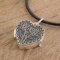 Sterling silver locket necklace, 'Protected by Love' - Heart-Shaped Sterling Silver Locket Necklace from Guatemala