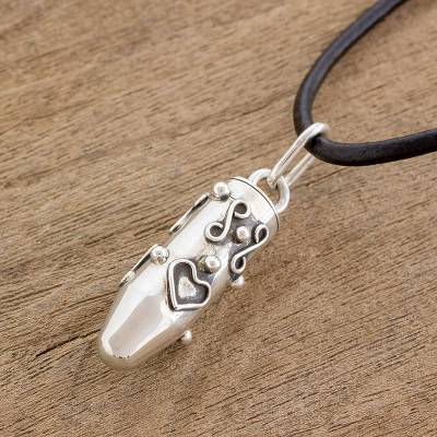 Sterling silver locket necklace, 'Tales of Love' - Heart Motif Sterling Silver Locket Necklace from Guatemala