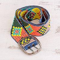 Cotton belt, 'Color Connection' - Multicolor Adjustable Woven Cotton Belt from Guatemala
