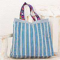 Cotton reversible tote, 'Breezy' - Striped Blue Reversible Cotton Tote Handbag from Guatemala