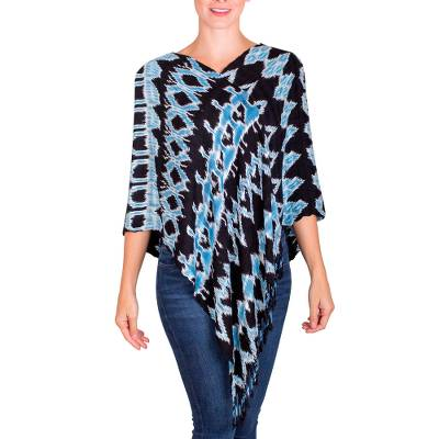 Rayon poncho, 'Flowing Energy' - Black and Sky Blue Ikat Rayon Poncho from Guatemala