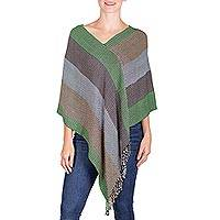 Rayon poncho, 'Pastoral' - Green and Brown Striped Rayon Fringed Poncho from Guatemala