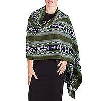 Rayon shawl, 'Green Pastures' - Green and Indigo Patterned Rayon Fringed Shawl