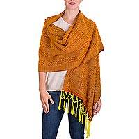 Rayon shawl, 'Sunny Hills of Quetzaltenango' - Sunny Orange and Yellow Rayon Handwoven Maya Shawl