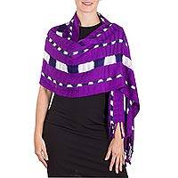 Rayon shawl, 'Orchid Bloom' - Magenta Rayon Fringed Shawl with Indigo and Ivory Stripes