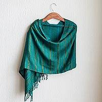 Rayon shawl, 'Jade Path' - Green Rayon Fringed Shawl with Striping Texture