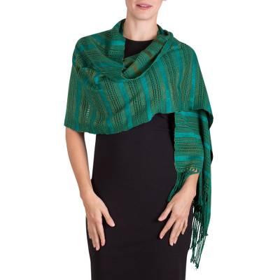 Rayon shawl, 'Jade Path' - Green Rayon Shawl with Striped Texture from Guatemala
