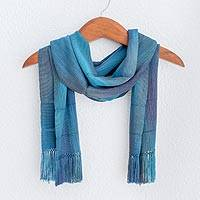 Rayon scarf, 'Smooth Breeze in Blue' - Handwoven Rayon Wrap Scarf in Blue from Guatemala