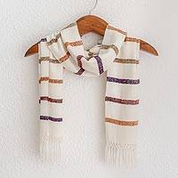 Rayon scarf, 'Autumn Memories' - Striped Rayon Wrap Scarf in White from Guatemala
