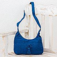 Cotton hobo bag, 'Ocean Day' - Handwoven Cotton Hobo Bag in Azure from Guatemala