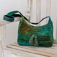Rayon and cotton blend hobo bag, 'Forest Day' - Rayon and Cotton Blend Hobo Bag in Green from Guatemala