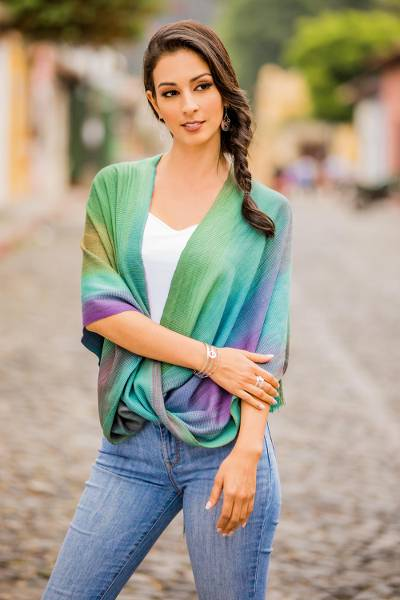 Rayon poncho, 'Nature's Charm' - Asymmetric Hand Woven Rayon Poncho from Guatemala