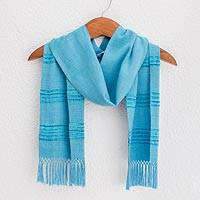 Bamboo fiber scarf, 'Mystic Maya Sky' - Handwoven Blue and Turquoise Bamboo Fiber Scarf