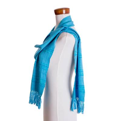 Rayon scarf, 'Mystic Maya Sky' - Handwoven Blue and Turquoise Rayon Fiber Scarf