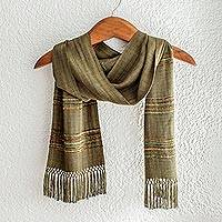 Rayon scarf, 'Mystic Maya Olive Grove' - Olive Green Backstrap Loom Handwoven Rayon Scarf