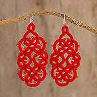 Hand-tatted dangle earrings, 'Red Petals Entwined' - Hand-Tatted Dangle Earrings in Aurora Red from Guatemala