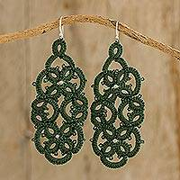 Hand-tatted dangle earrings, 'Green Petals Entwined' - Hand-Tatted Lace Dangle Earrings in Lush Meadow Green