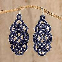 Hand-tatted dangle earrings, 'Navy Petals Entwined' - Navy Peony Blue Tatted Lace Dangle Earrings from Guatemala