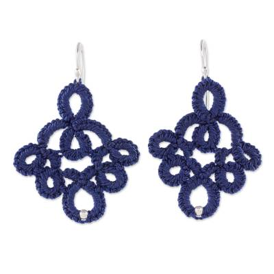 Hand-tatted dangle earrings, 'Navy Blue Lace' - Petite Navy Peony Blue Hand-Tatted Lace Earrings