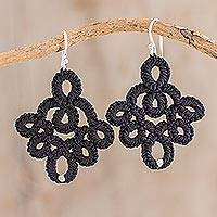 Hand-tatted dangle earrings, 'Ebony Lace' - Hand-Tatted Black Lace Earrings with Silver Accents