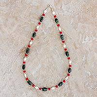 Jade and cultured pearl beaded necklace,