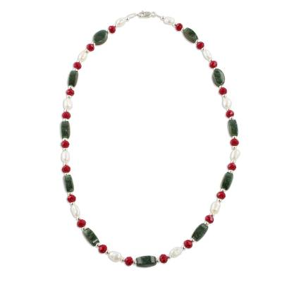 Jade and Cultured Pearl Beaded Necklace from Guatemala