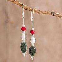 Jade and cultured pearl dangle earrings, 'Winning Combination' - Jade and Pearl Dangle Earrings from Guatemala