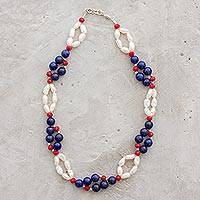 Lapis lazuli and cultured pearl beaded necklace, 'Tricolor Beauty' - Lapis Lazuli and Cultured Pearl Necklace from Guatemala