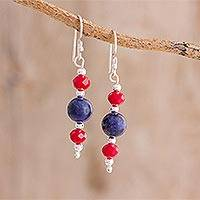 Lapis lazuli dangle earrings, 'Tricolor Beauty' - Lapis Lazuli and Crystal Dangle Earrings from Guatemala