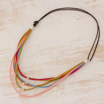 Suede cord necklace, 'Cascade of Colors' - Guatemalan Sterling Silver Accented Suede Cord Necklace