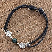 Jade and sterling silver pendant bracelet, 'Jade Blossoms' - Sterling Silver and Jade Pendant Bracelet from Guatemala