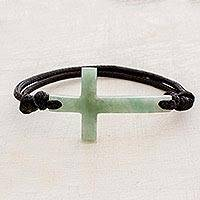 Jade pendant bracelet, 'Maya Faith in Apple Green' - Cross-Shaped Apple Green Jade Bracelet from Guatemala
