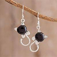 Jade dangle earrings, 'Small Felines in Black' - Jade and Sterling Silver Dangle Earrings from Guatemala