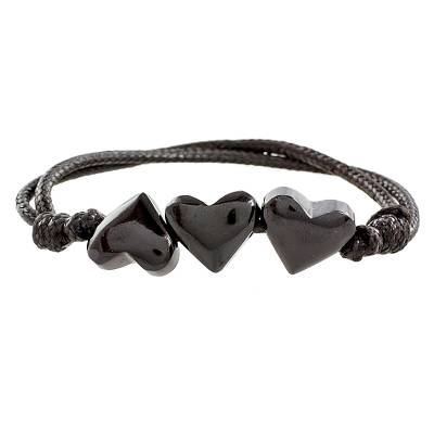 Heart-Shaped Jade Pendant Bracelet from Guatemala
